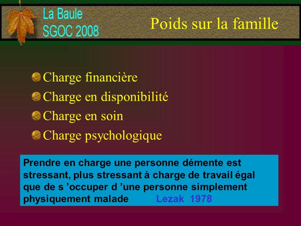 Poids sur la famille Charge financière Charge en disponibilité