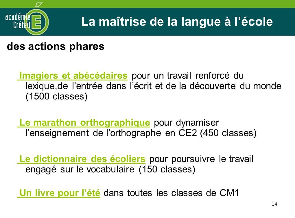 La maîtrise de la langue à l'école