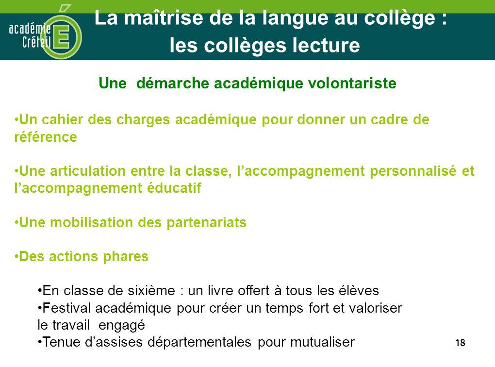 La maîtrise de la langue au collège : les collèges lecture