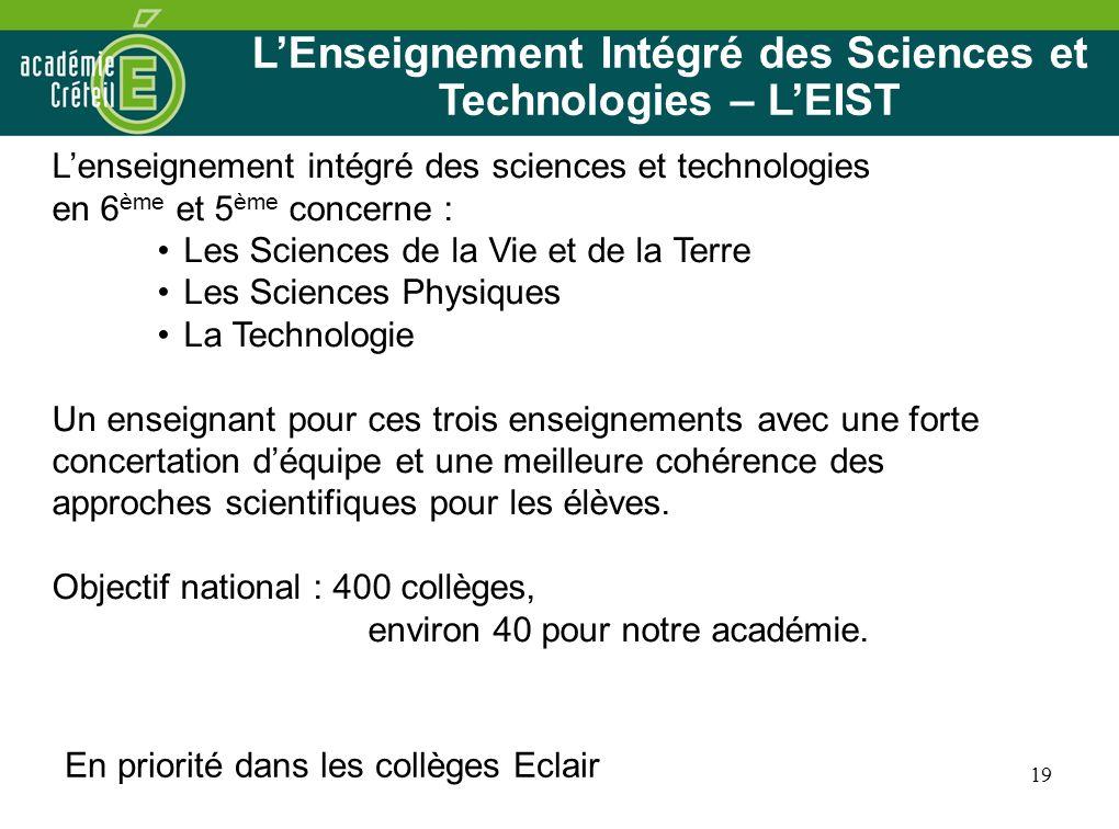L'Enseignement Intégré des Sciences et Technologies – L'EIST