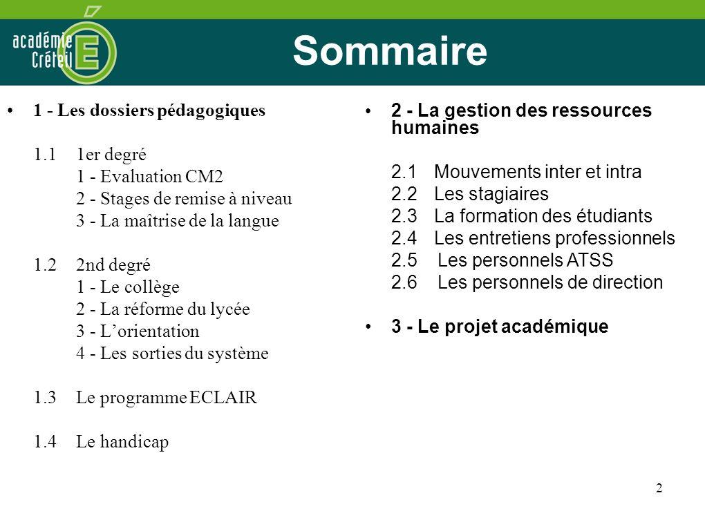 Sommaire 1 - Les dossiers pédagogiques 1.1 1er degré