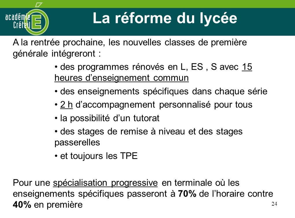 La réforme du lycée A la rentrée prochaine, les nouvelles classes de première générale intégreront :