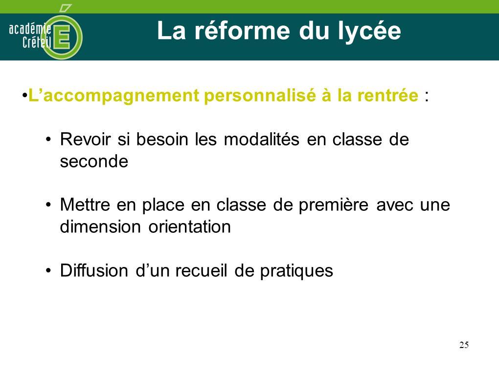 La réforme du lycée L'accompagnement personnalisé à la rentrée :