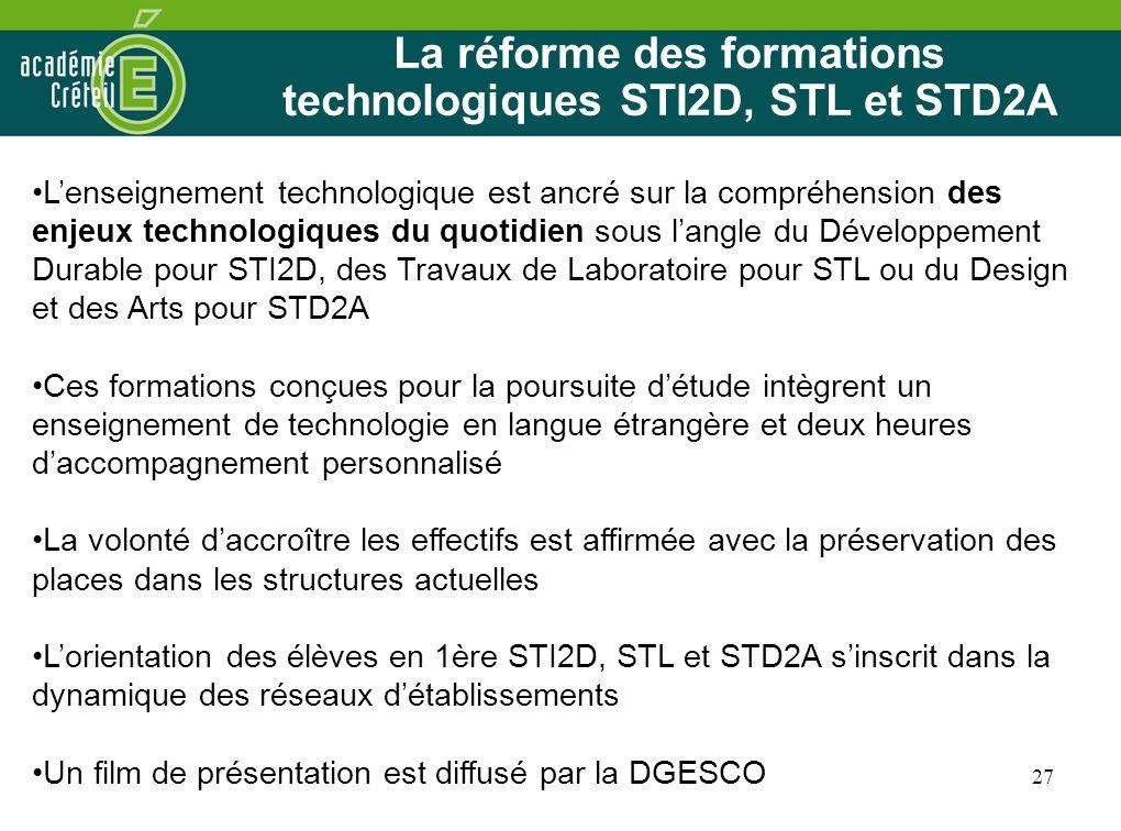 La réforme des formations technologiques STI2D, STL et STD2A