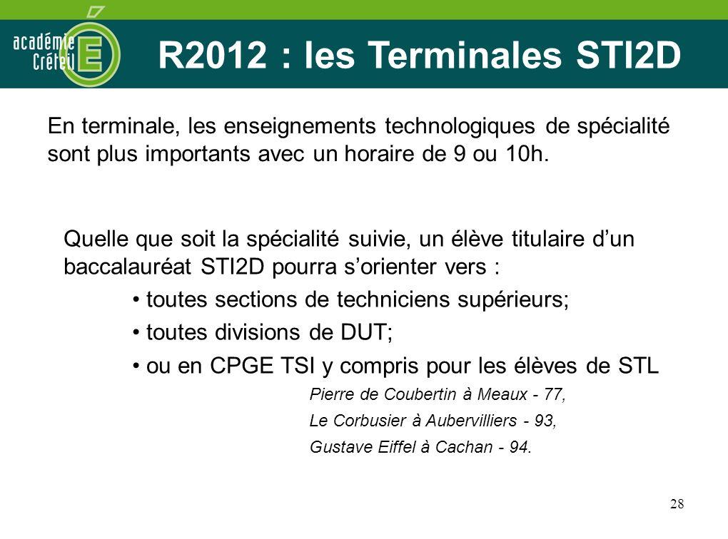 R2012 : les Terminales STI2D Quelle que soit la spécialité suivie, un élève titulaire d'un baccalauréat STI2D pourra s'orienter vers :