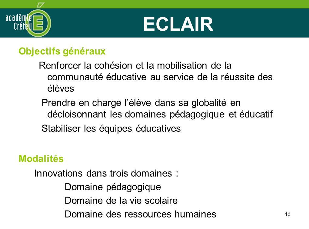 ECLAIR Objectifs généraux