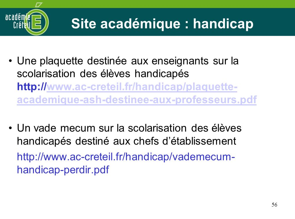 Site académique : handicap