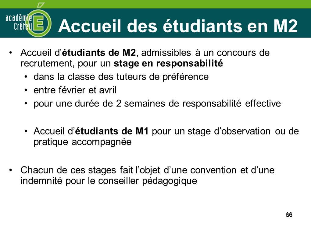 Accueil des étudiants en M2