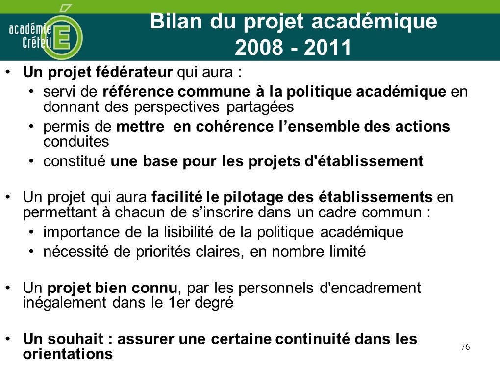 Bilan du projet académique 2008 - 2011