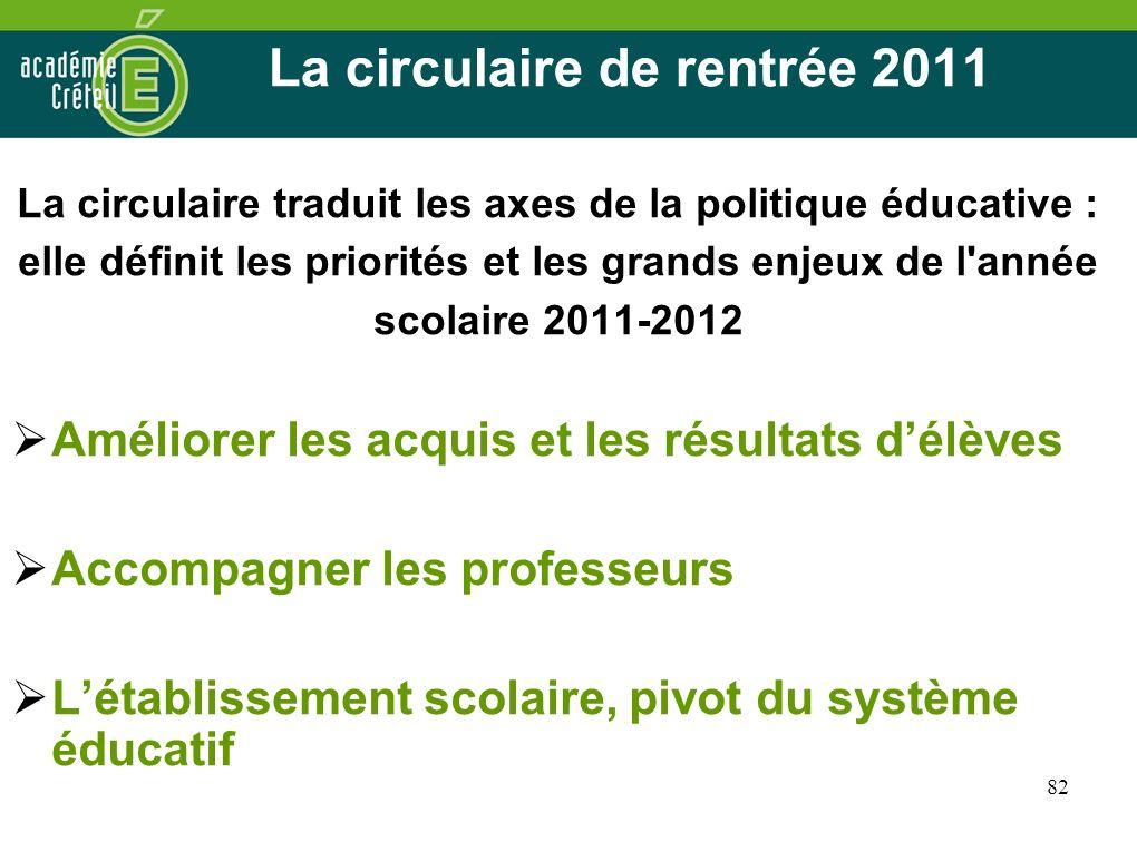 La circulaire de rentrée 2011