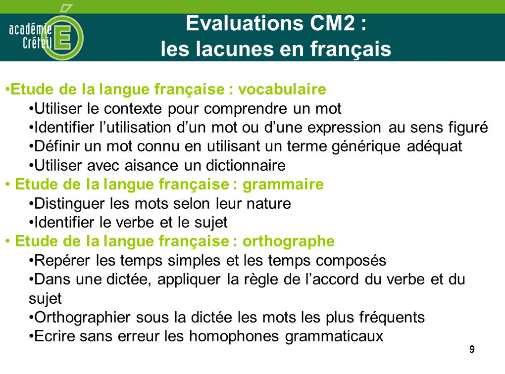Evaluations CM2 : les lacunes en français