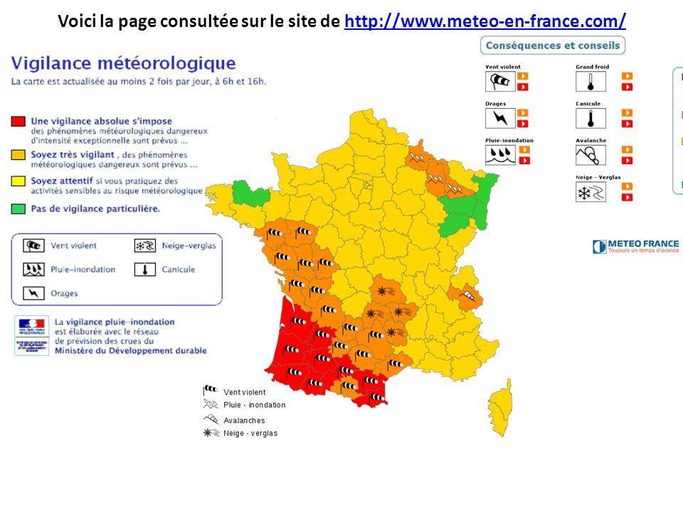 Voici la page consultée sur le site de http://www.meteo-en-france.com/