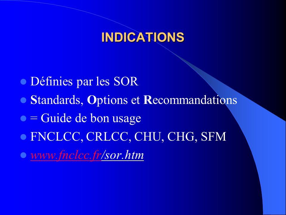 INDICATIONS Définies par les SOR. Standards, Options et Recommandations. = Guide de bon usage. FNCLCC, CRLCC, CHU, CHG, SFM.