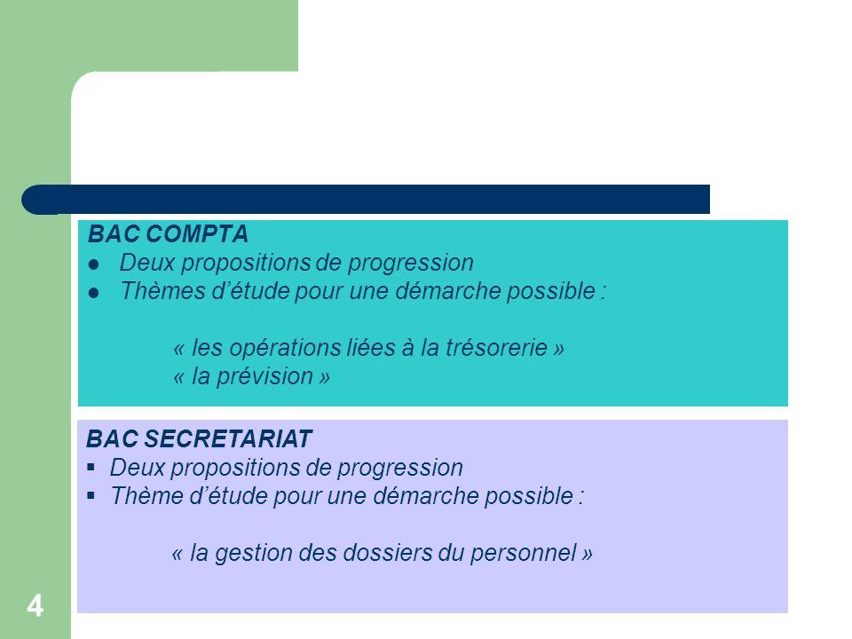BAC COMPTA Deux propositions de progression. Thèmes d'étude pour une démarche possible : « les opérations liées à la trésorerie »