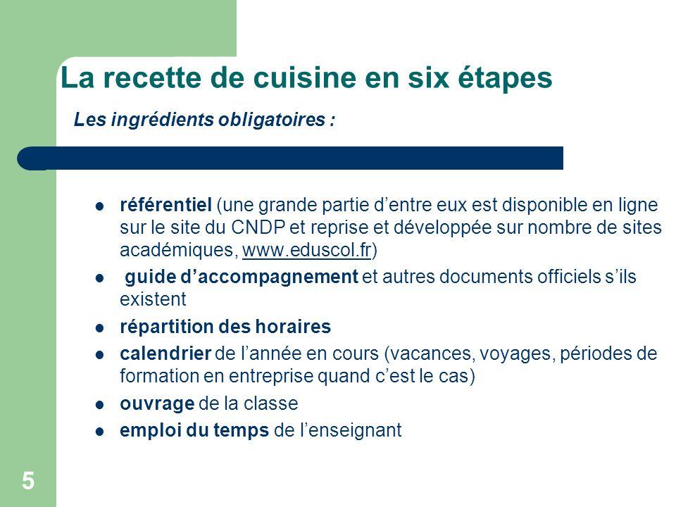 La recette de cuisine en six étapes