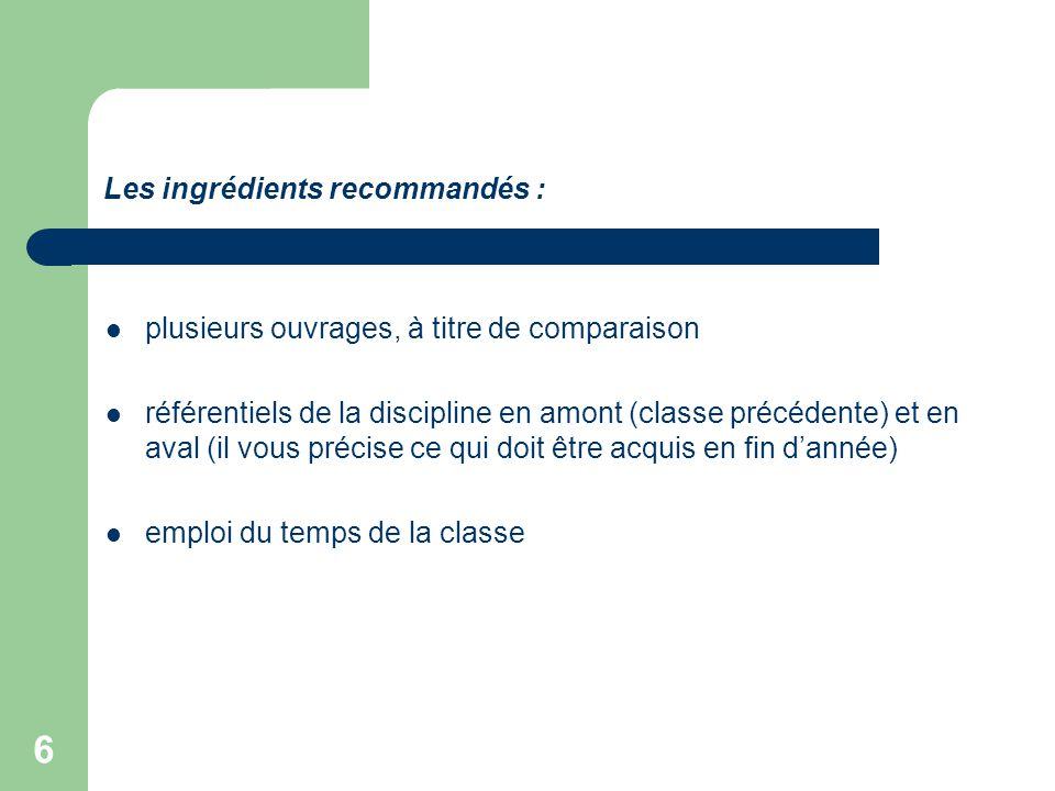 Les ingrédients recommandés :