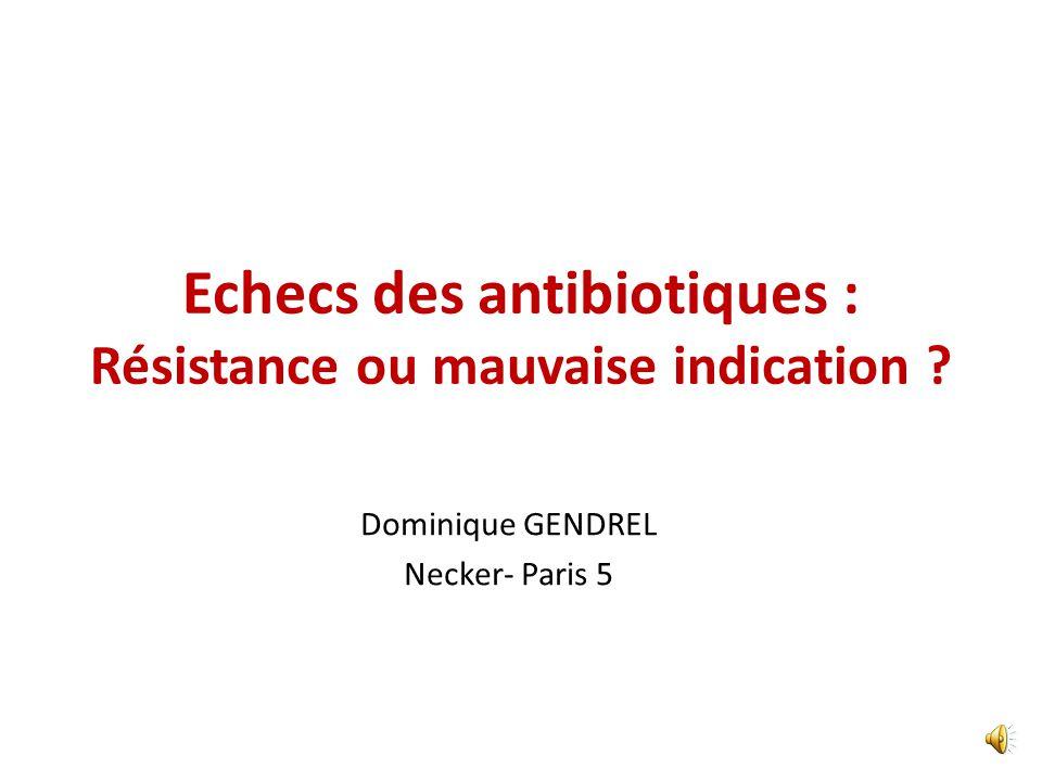 Echecs des antibiotiques : Résistance ou mauvaise indication