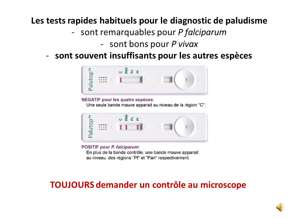 Les tests rapides habituels pour le diagnostic de paludisme