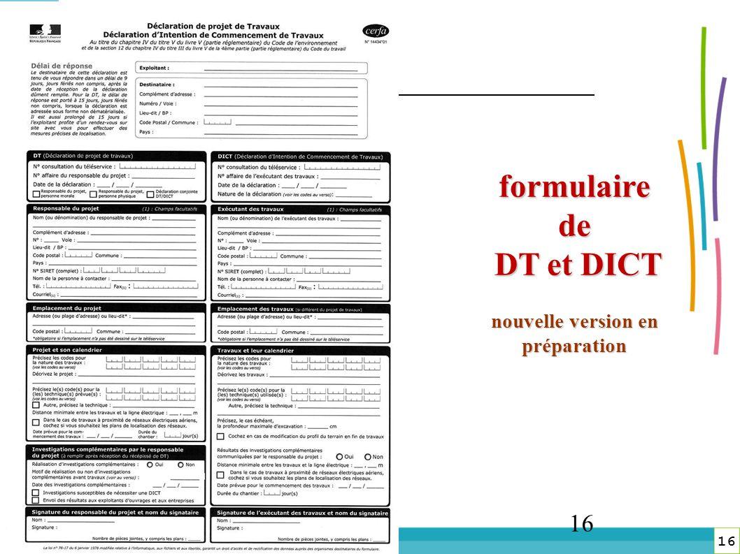 formulaire de DT et DICT nouvelle version en préparation