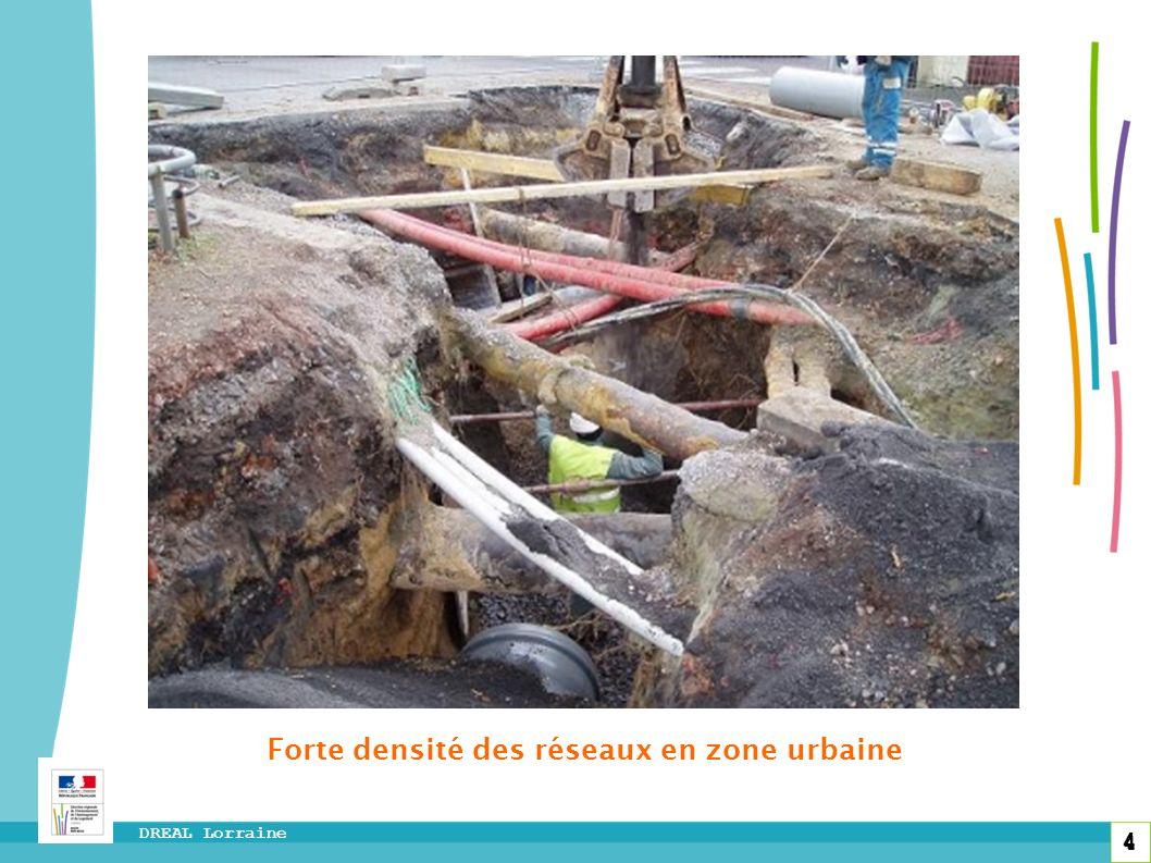 Forte densité des réseaux en zone urbaine
