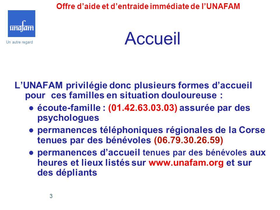Offre d'aide et d'entraide immédiate de l'UNAFAM