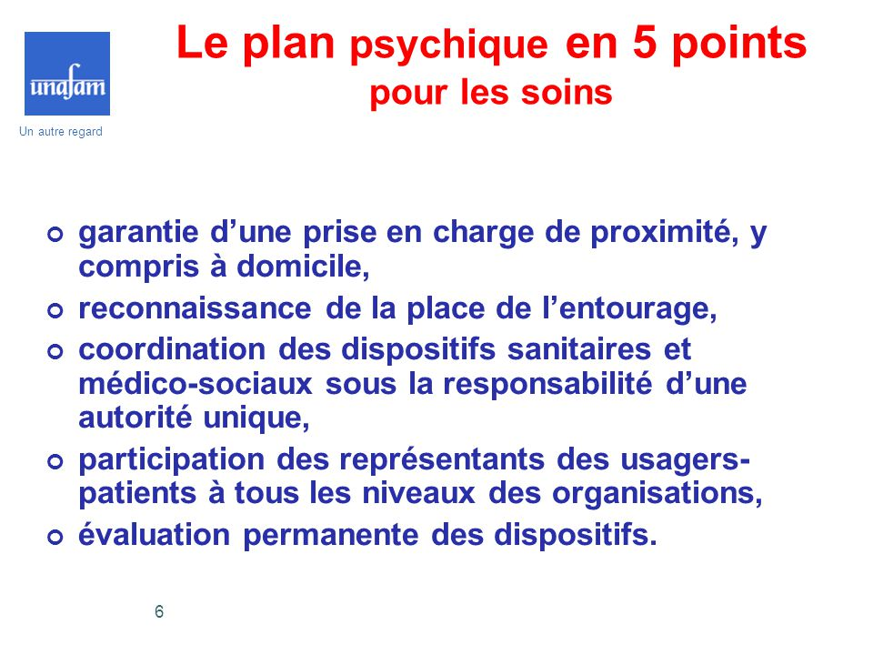 Le plan psychique en 5 points pour les soins