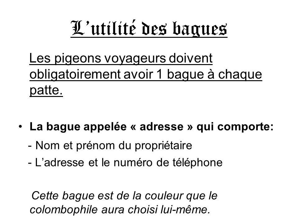 L'utilité des bagues Les pigeons voyageurs doivent obligatoirement avoir 1 bague à chaque patte. La bague appelée « adresse » qui comporte: