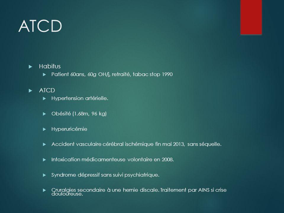 ATCD Habitus ATCD Patient 60ans, 60g OH/j, retraité, tabac stop 1990