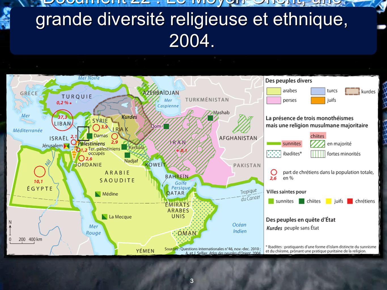 Document 22 : Le Moyen-Orient, une grande diversité religieuse et ethnique, 2004.