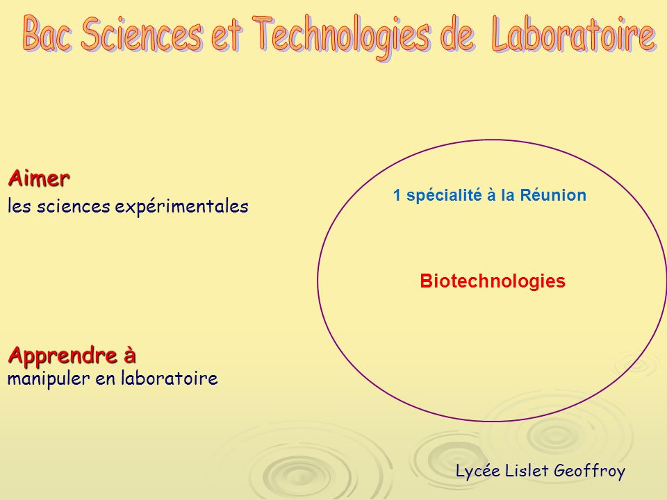 Bac Sciences et Technologies de Laboratoire
