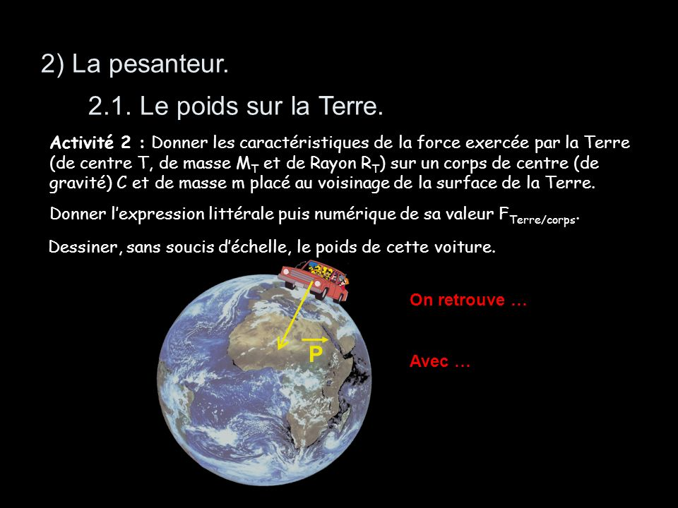 2) La pesanteur. 2.1. Le poids sur la Terre. P