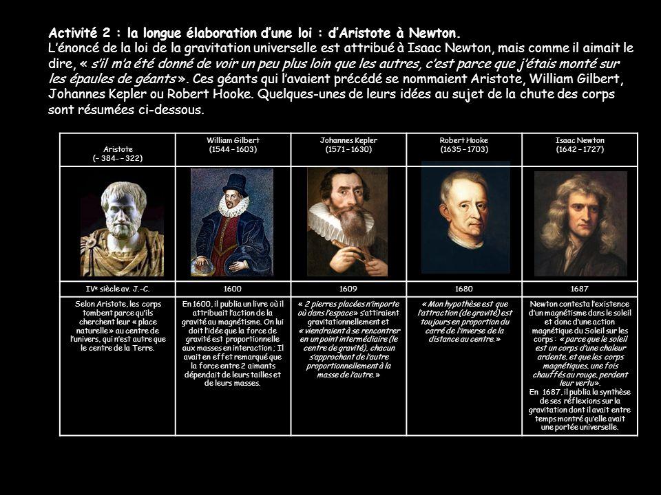 Activité 2 : la longue élaboration d'une loi : d'Aristote à Newton.