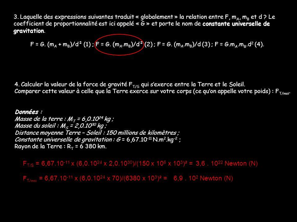 3. Laquelle des expressions suivantes traduit « globalement » la relation entre F, mA, mB et d Le coefficient de proportionnalité est ici appelé « G » et porte le nom de constante universelle de gravitation.