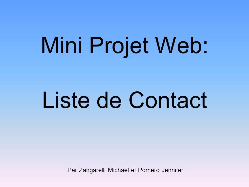 Mini Projet Web: Liste de Contact