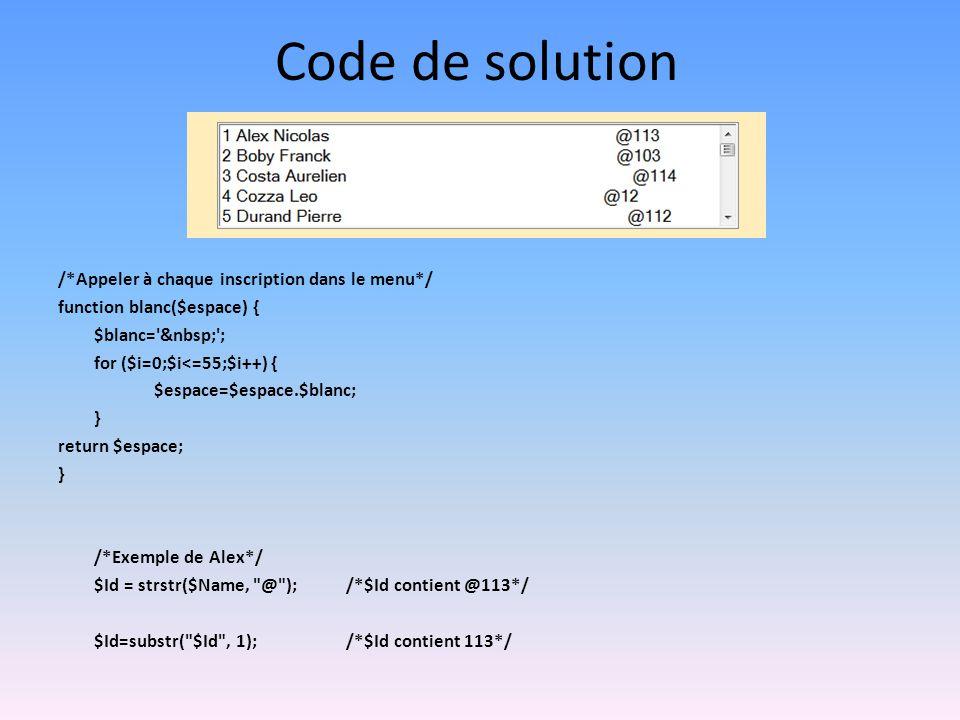 Code de solution