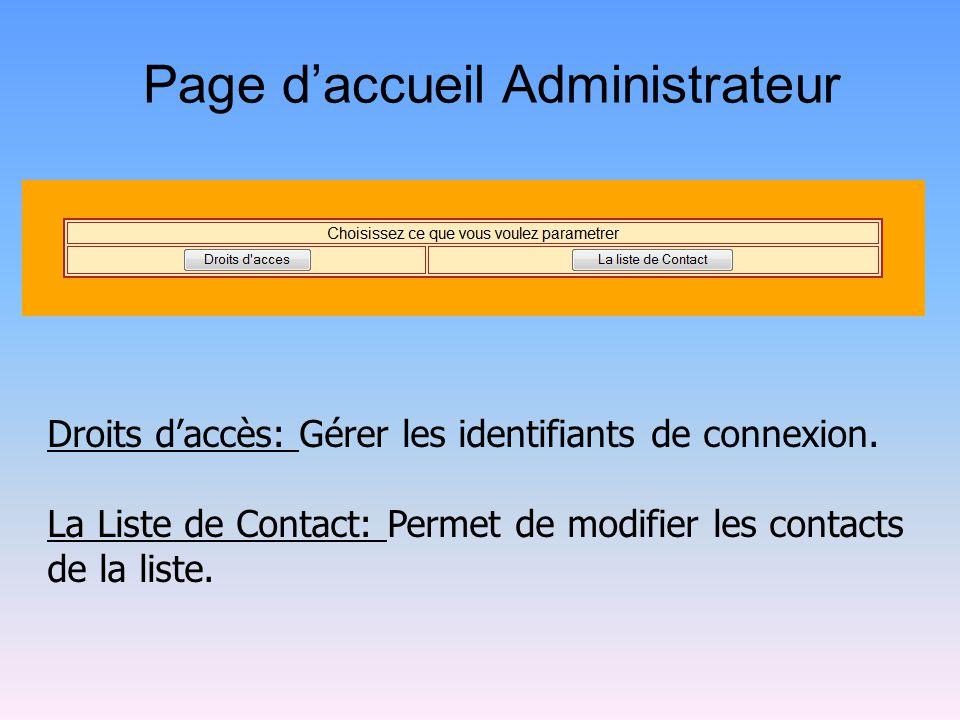 Page d'accueil Administrateur