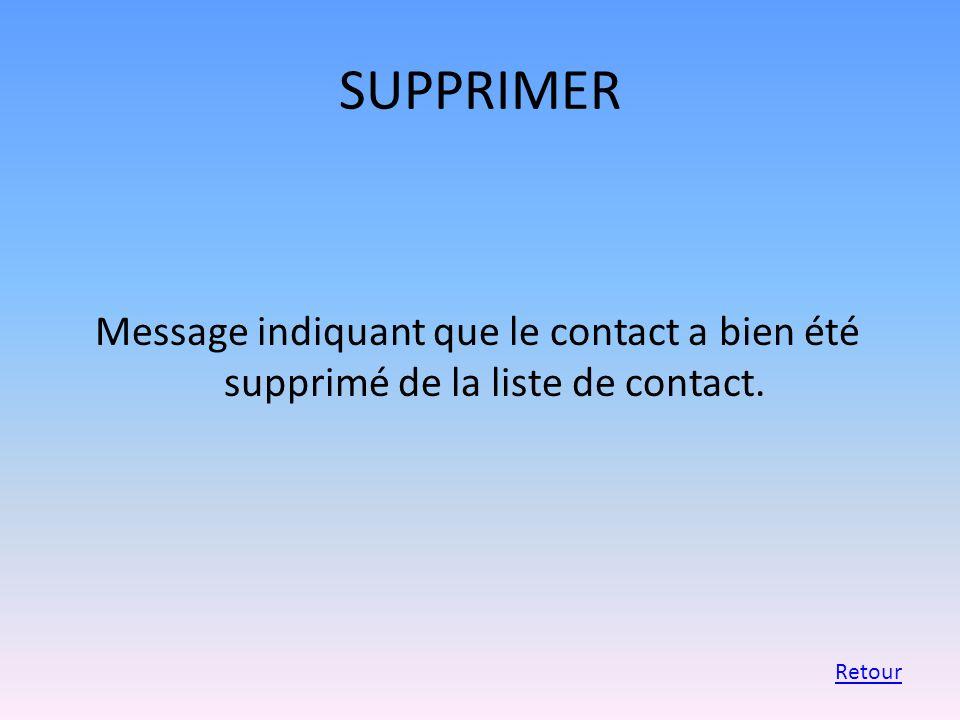 SUPPRIMER Message indiquant que le contact a bien été supprimé de la liste de contact. Retour