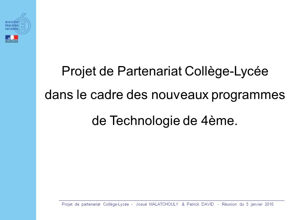 Projet de Partenariat Collège-Lycée