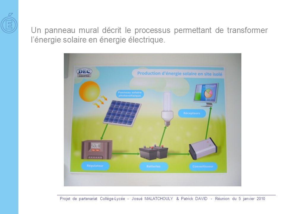 Un panneau mural décrit le processus permettant de transformer l'énergie solaire en énergie électrique.