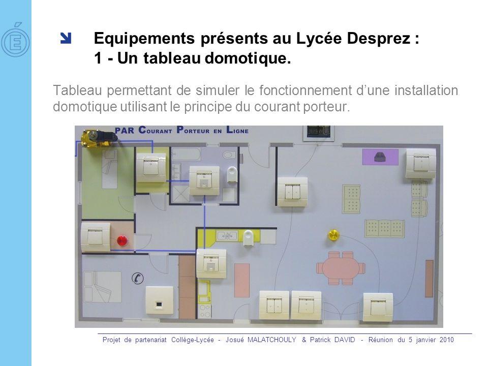 Equipements présents au Lycée Desprez : 1 - Un tableau domotique.