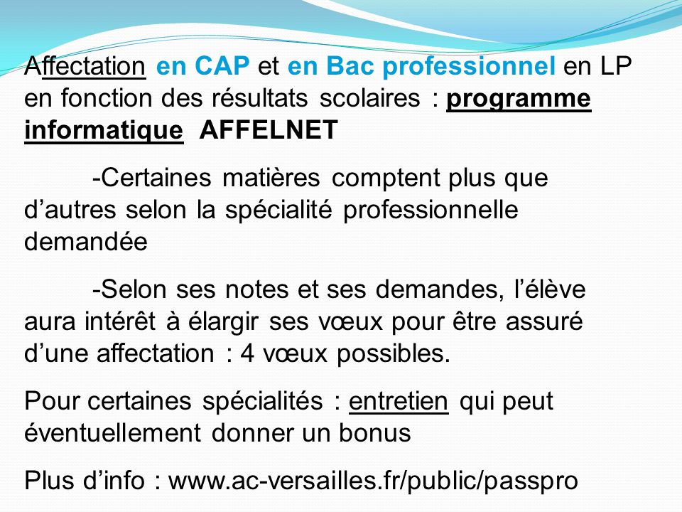 Affectation en CAP et en Bac professionnel en LP en fonction des résultats scolaires : programme informatique AFFELNET