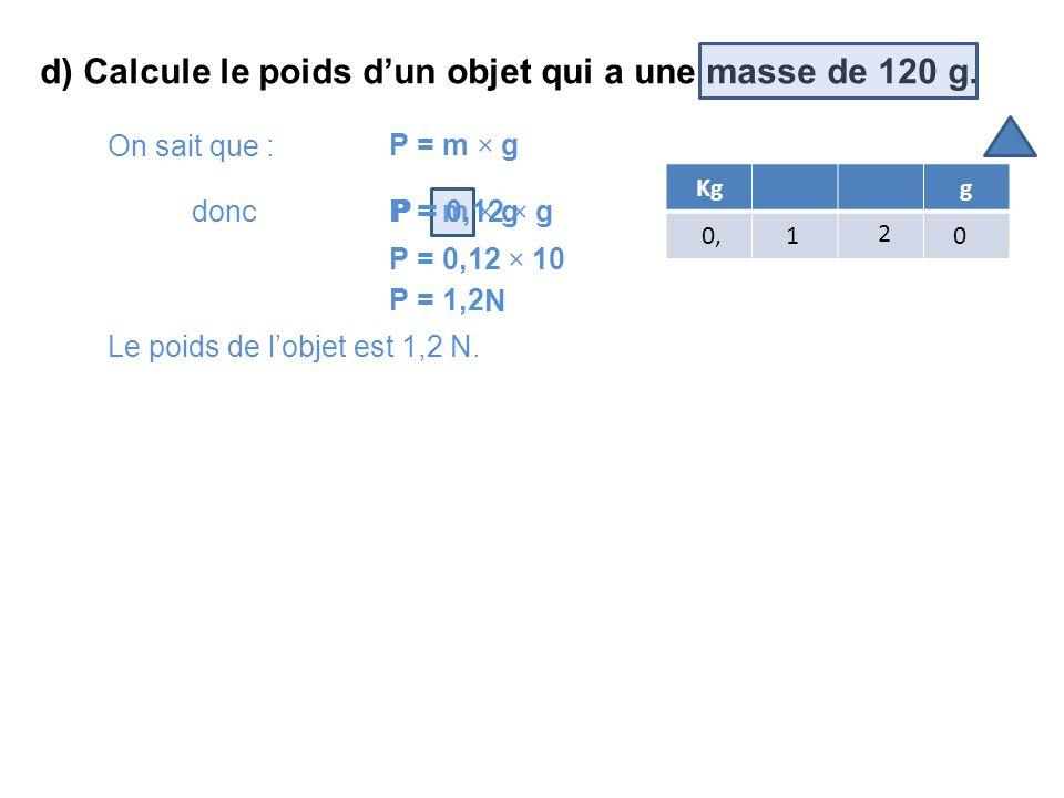 d) Calcule le poids d'un objet qui a une masse de 120 g.