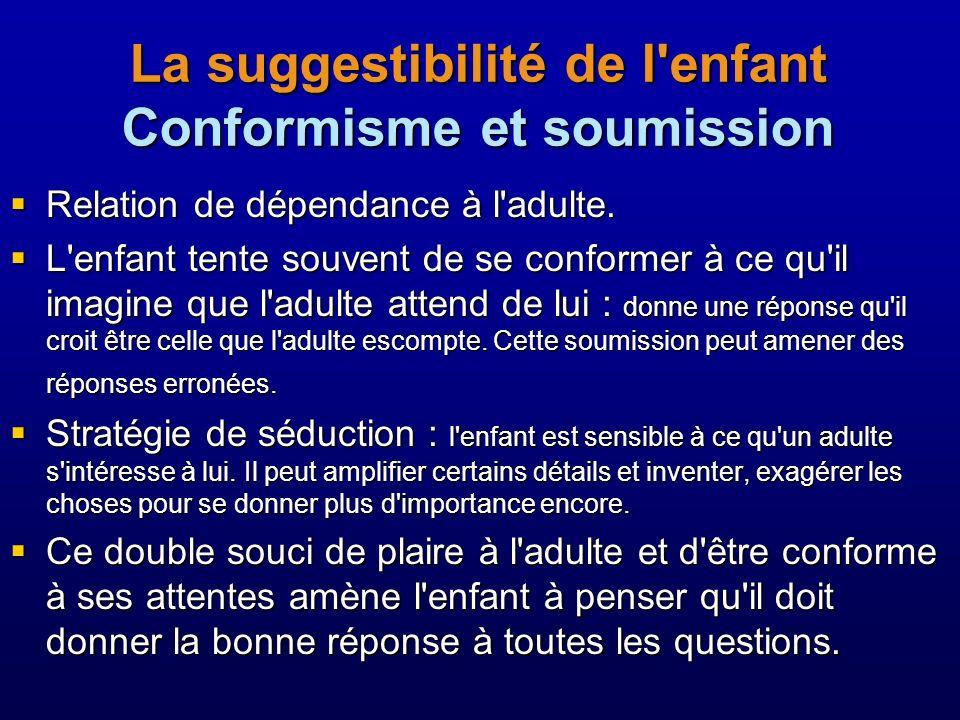 La suggestibilité de l enfant Conformisme et soumission