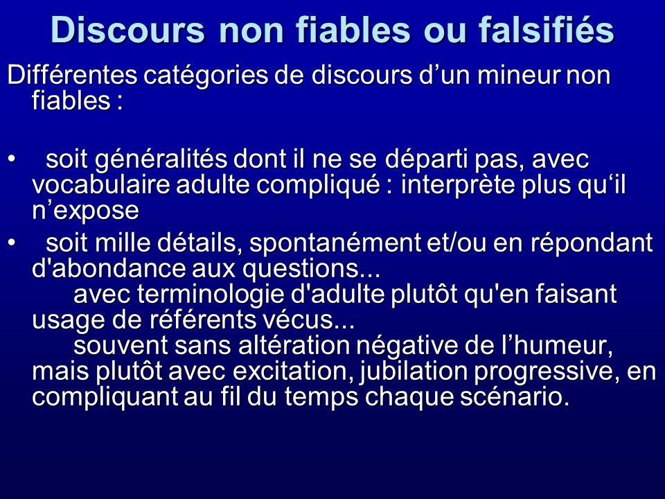 Discours non fiables ou falsifiés