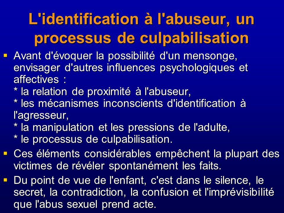L identification à l abuseur, un processus de culpabilisation