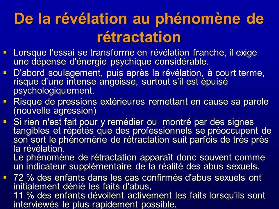De la révélation au phénomène de rétractation