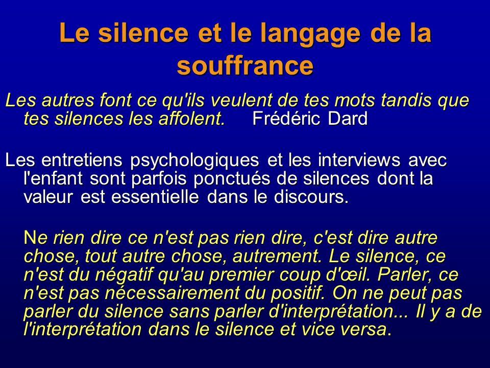 Le silence et le langage de la souffrance