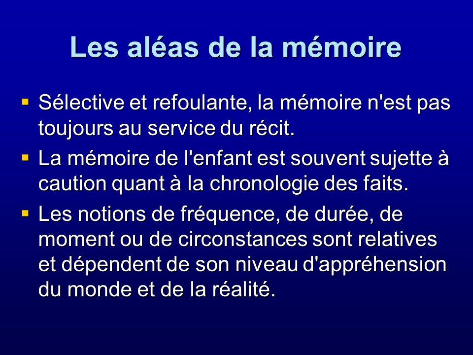 Les aléas de la mémoire Sélective et refoulante, la mémoire n est pas toujours au service du récit.