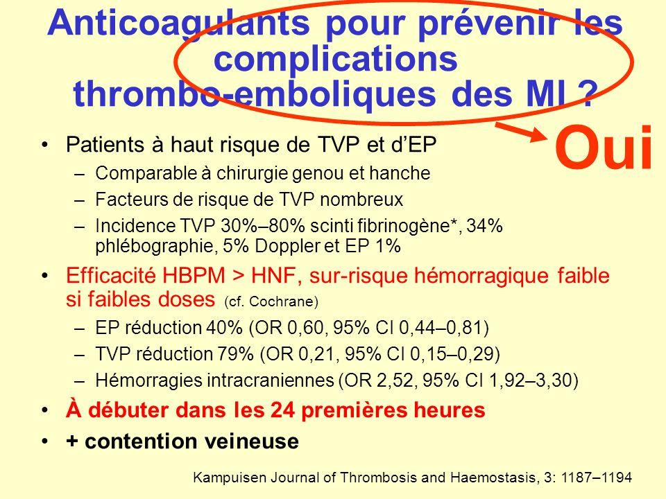 Anticoagulants pour prévenir les complications thrombo-emboliques des MI