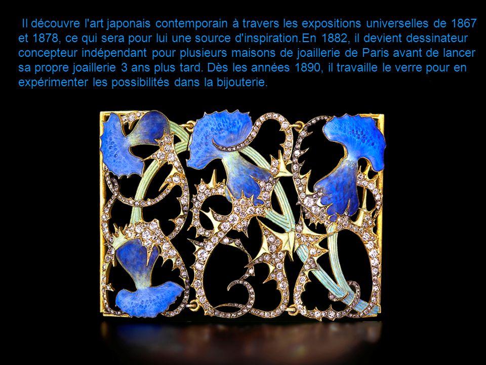 Il découvre l art japonais contemporain à travers les expositions universelles de 1867 et 1878, ce qui sera pour lui une source d inspiration.En 1882, il devient dessinateur concepteur indépendant pour plusieurs maisons de joaillerie de Paris avant de lancer sa propre joaillerie 3 ans plus tard.